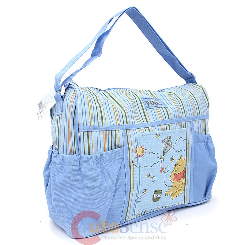 disney baby winnie the pooh deluxe blue diaper bag for boy comes diaper pad ebay. Black Bedroom Furniture Sets. Home Design Ideas