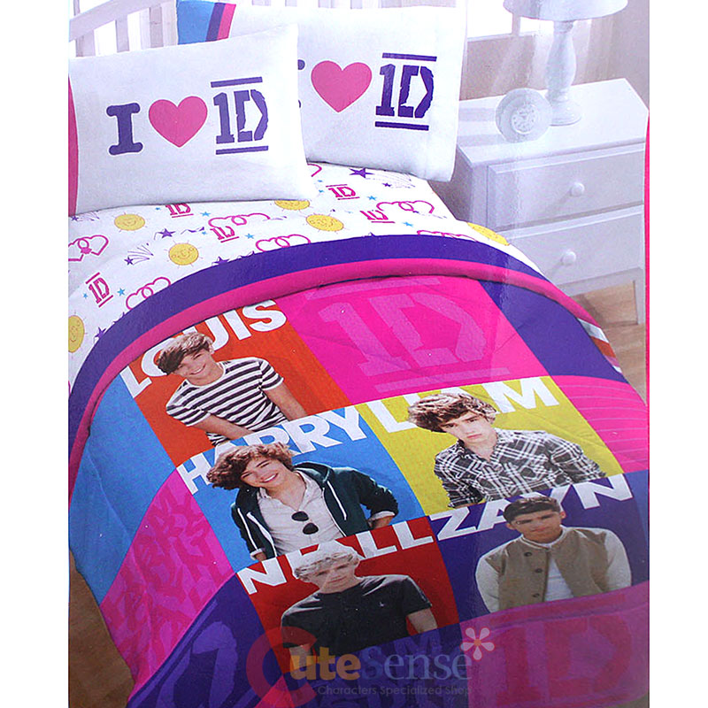 one direction twin comforter 4pc bedding with sheet set harry zayn liam louis 1d. Black Bedroom Furniture Sets. Home Design Ideas