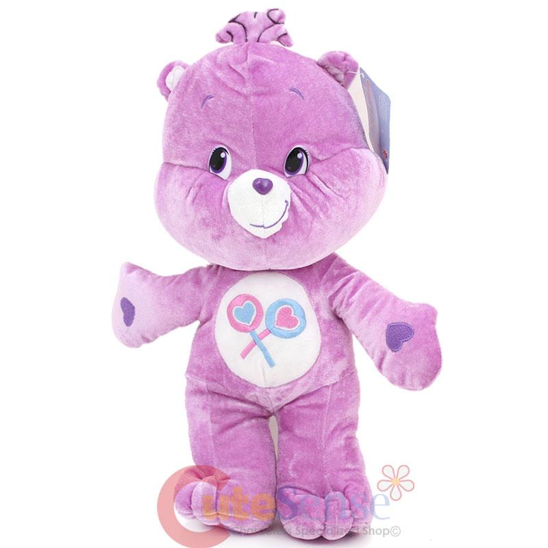 "Care Bears Share Bear Large Plush Doll 16"" Soft Stuffed Toy Purple Bear"
