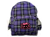 Purple Checkered School Bag - Backpack