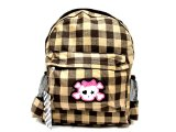 Brown Wide Check Plaid School Bag - Backpack