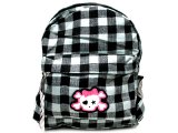Gray Wide Check Plaid School Bag - Backpack