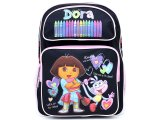 Dora The Explorer Dora & Boots School Backpack :Large Crayon Black