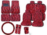 Zebra Animal Car Seat Covers Accessories Compleate :Red