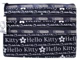 Sanrio Hello Kitty Mesh Money Pouch Wallet -Black 3 zippered