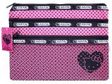 Sanrio Hello Kitty Mesh Money Pouch Wallet -Pink 3 zippered