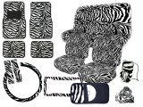 Zebra Animal Car Seat Covers Accessories Compleate:Bk-Wh 16pc