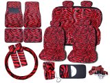 Zebra Animal Car Seat Covers Accessories Compleate :Red 17PC