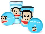 Paul Frank Tin Trash Can Set w/ Top -4pc Blue