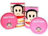 Paul Frank Tin Trash Can Set w/ Top -4pc Pink