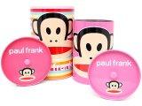 Paul Frank Tin Trash Can Set w/ Top -4pc Pink