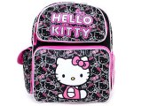 "Sanrio Hello Kitty School  Backpack:Black Pink Outlines 12"" Medium"