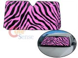 Zebra Front Window Sun Shade/Windshield -Black & Pink