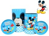 Disney Mickey Mouse Tin Trash Can Set w/ Top -4pc Set