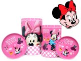 Disney Minnie Mouse Tin Trash Can Set w/ Top -4pc Set