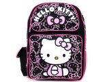 "Sanrio Hello Kitty School Backpack: 16"" Large -Black Pink Glittering Face"