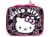 Sanrio Hello Kitty School  Lunch Bag / Snack Box :Black Pink Glittering Face