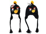 Rovio Angry Birds Black Bird Knitted Lapland Hat : Beanie with Ear Flap (Kids to Adult )