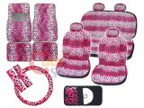 Pink Leopard Safari Animal Car Seat Covers Accessories Complete Set -Full 14 PC