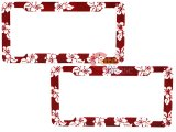 Red  Hawaiian Flowers  License Plate Frame 2pc Set