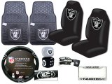 NFL Oakland Raiders Car Seat Cover Auto Accessories Set -8pc Rubber Mat
