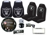 NFL Oakland Raiders Car Seat Cover Auto Accessories Set -8pc Carpet Mat