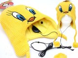 Tweety Bird  Headphone Beanie Ear flaps Cap