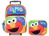 Sesame Street Elmo Large School Roller Backpack Lunch Bag Set :Ha Ha