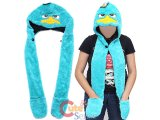 Phineas and Ferb Agent P Plush Hat with Mittens Pokect Scarf