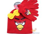 Angry Birds Red Birds with Bow  Gloves,Beanie 2PC Set