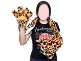 Leopard Big Paw Fluffy Plush Gloves with Scarf