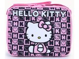 Sanrio Hello Kitty School  Lunch Bag  Snack Box -Black Pink Stamps