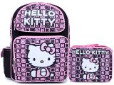 Sanrio Hello Kitty Large School Backpack Lunch Bag Set : Black Pink Stamps