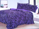 Purple Zebra Queen Faux Fur Bedspread With Pillow Cover