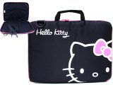 Sanrio Hello Kitty Formed 13.5in Mac Book LapTop Case / Briefcase - Black Pink