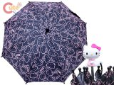 Sarino Hello Kitty Kids Umbrella Black Pink Face All Over