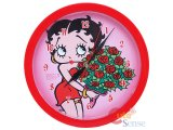 Betty Boop Wall Clock 10in Round - Rose Bouquet