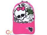 Monster High Skull Logo Baseball Cap Kids Adjustable Hat : Pink White