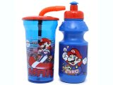 Nintendo Super Mario Drinking Bottle 2pc Set: Pull-Top and Flex Straw