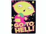 Family Guy Stewie Microfiber Plush Throw Blanket  (45x60) Go To Hell!