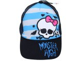 Monster High Skull Mesh Back Baseball Cap Kids Adjustable Hat : Blue Stripe
