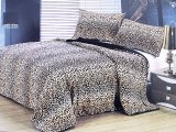 Leopard Queen Borrego Sherpa  Bedspread With Pillow Cover 3pc Set