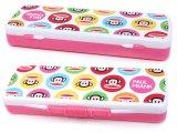 Paul Frank Plastic Pencil Case Slip Open Box -Pink Bubble Dots