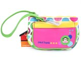 Paul Frank Leather Wristlet Wallet  Neon Pink Green Mini Pouch