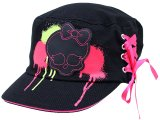 Monster High Military Cap Skull Logo Black Pink Tie Hat