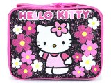Sanrio Hello Kitty School  Lunch Bag  Snack Box - Paisley Flower Black