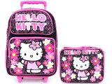 Sanrio Hello Kitty Large School Roller Backpack Lunch Bag Set :Paisley Flower Black