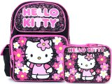 Sanrio Hello Kitty Large School Backpack Lunch Bag Set : Paisley Flower Black