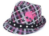 Monster High Girls Fedora Hat Pink Grey Plaid with Stud
