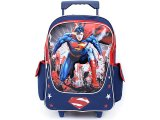 Man of Steel  Superman  School Large Roller Backpack Rolling Bag -Blue